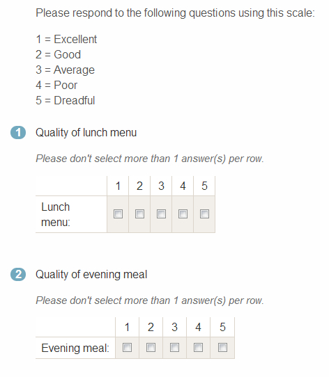 A screen shot of a multiple choice question with a separate scale