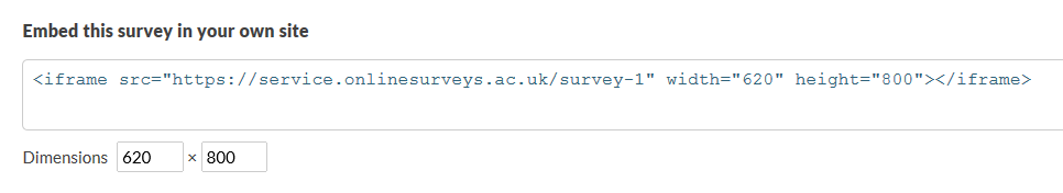 Embed survey code