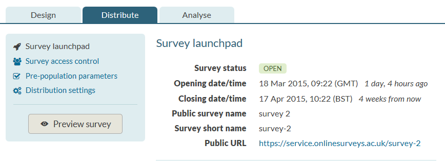 survey launchpad URL