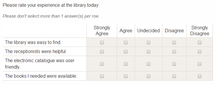 Scalerank questions – Likert Scale Template