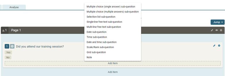 Adding sub-questions   Online surveys